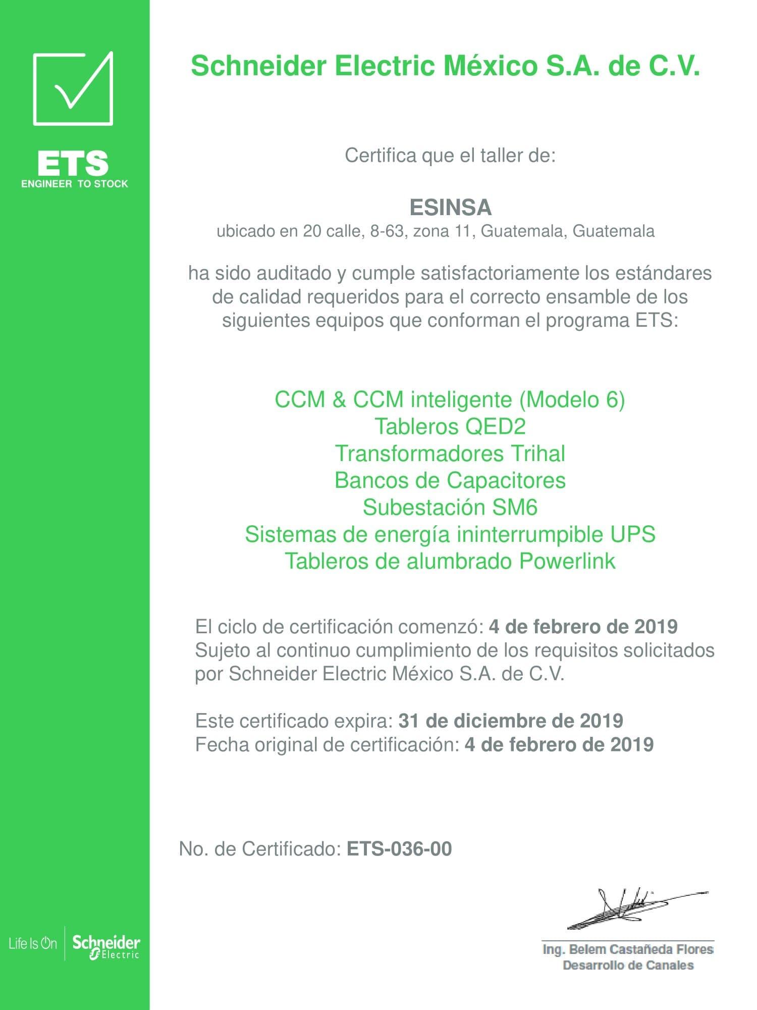 Certificado ETS
